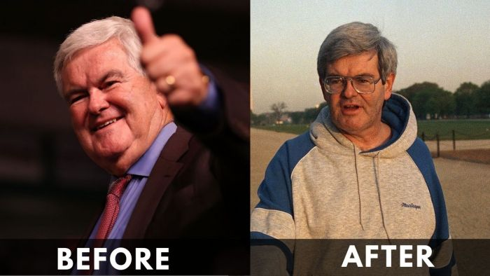 Newt Gingrich Before and after